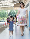 Children and mother go to school first day use for education ,ki Royalty Free Stock Photo