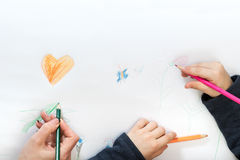 Children and mother hand draw Stock Images