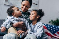 Children with mother in military uniform Royalty Free Stock Photos