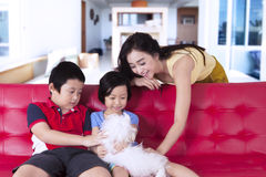 Children and mother play with cute dog Royalty Free Stock Image