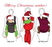 Children with mothers into baby carrier and sling. Vector illustration of children with mothers into baby carrier and sling scarf Stock Photos