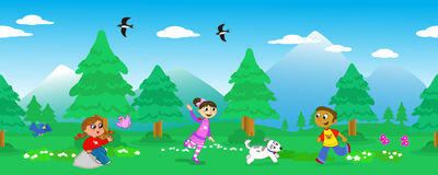 Children in mount landscape seamless vector Stock Image