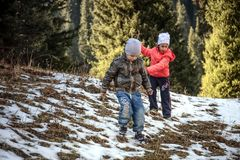 Children in the mountains. Royalty Free Stock Photo