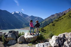 Children in the mountains. royalty free stock photos
