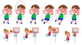 Children movement sequence. Boy jumping the rope and girl playing basket moving sequence vector illustration Stock Images