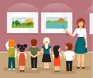 Children in the museum. Vector illustration. Young children and the teacher on a field trip to an art museum looking at pictures Stock Photo