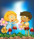 Children and mushroom Stock Photo