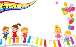 Children and music frame. Group of happy Children and music frame .illustration Stock Image