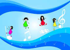 Children and music Notes Stock Images
