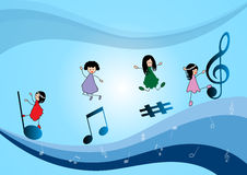 Children and music Notes Stock Photos
