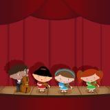 Children - musicians. Musical quartet. Children play musical instruments Stock Photos