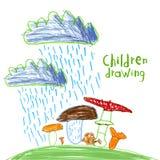 Children naiwny rysunek Obrazy Royalty Free