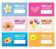 Children name cards vector illustration