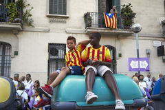 Children at National Day of Catalonia Stock Image