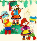 Children in national Slavic costumes royalty free stock images