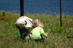 Children in nature. Two cute blond children discovering nature on a paddock of a farm in summer stock image