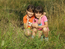 Children in the nature. On the country side in summer time royalty free stock photography