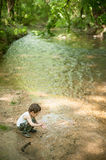 Children, nature, family,   forest, park, river,  adventure, fishing, boy, kid Royalty Free Stock Photography