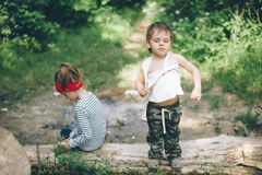 Children, nature, family, love, forest, park, proud,  adventure,  boy, girl Stock Photos