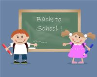 Children near a blackboard with the inscription Back to School!. Vector illustration. It can be used for the websites, children's magazines and typographical Stock Image