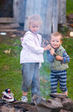 Children near campfire Stock Photo