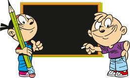 Children near a school board Stock Images