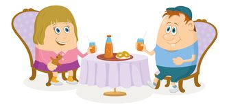 Children near table, isolated Royalty Free Stock Photos