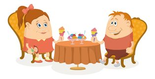 Children near table, isolated Royalty Free Stock Images