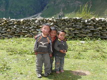 Children in Nepal - Tsum Valley Stock Image