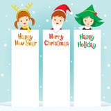 Children In New Year Costume With Banner. Happy New Year Merry Christmas Xmas Objects Festive Celebrations vector illustration