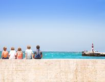 Children next to sea Royalty Free Stock Photo