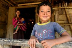 Children of The Nishi Tribes Stock Photo