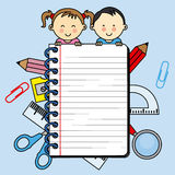 Children with a notebook Royalty Free Stock Image