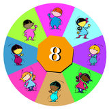 Number Eight for Children or Baby Cartoon. Diversity: children with number eight Royalty Free Stock Images
