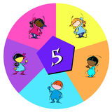 Children with number five Royalty Free Stock Image
