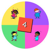 Children with number four Stock Images