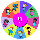 Children with number nine Royalty Free Stock Photography