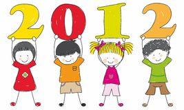 Children with the numbers. Of the new year stock illustration