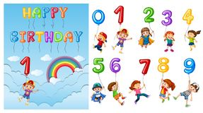 Children with numbers and balloons royalty free illustration