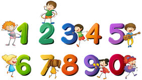 Children and numbers one to zero. Illustration royalty free illustration
