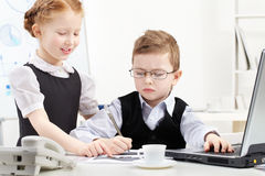 Children in office royalty free stock photos