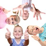 Children with ok gesture on white. Collage Royalty Free Stock Photography