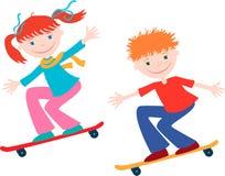 Children On The Skateboards Stock Images