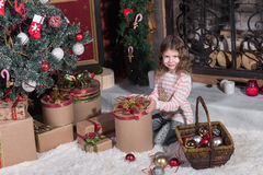 Children Opening Gifts. Stock Images