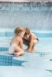 Children in outdoor pool Stock Photos
