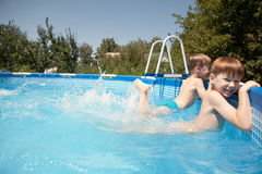 Children in the outdoor pool Stock Photography