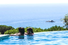 Children in an outdoor pool Royalty Free Stock Photography