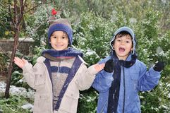 Children Outdoor, Snowing On Them Royalty Free Stock Photos