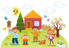 Children outdoors in spring. Children playing outdoors in spring Stock Photography