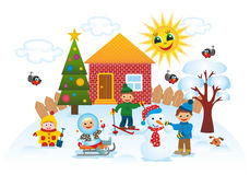 Children outdoors in winter. Children playing outdoors in winter Royalty Free Stock Images